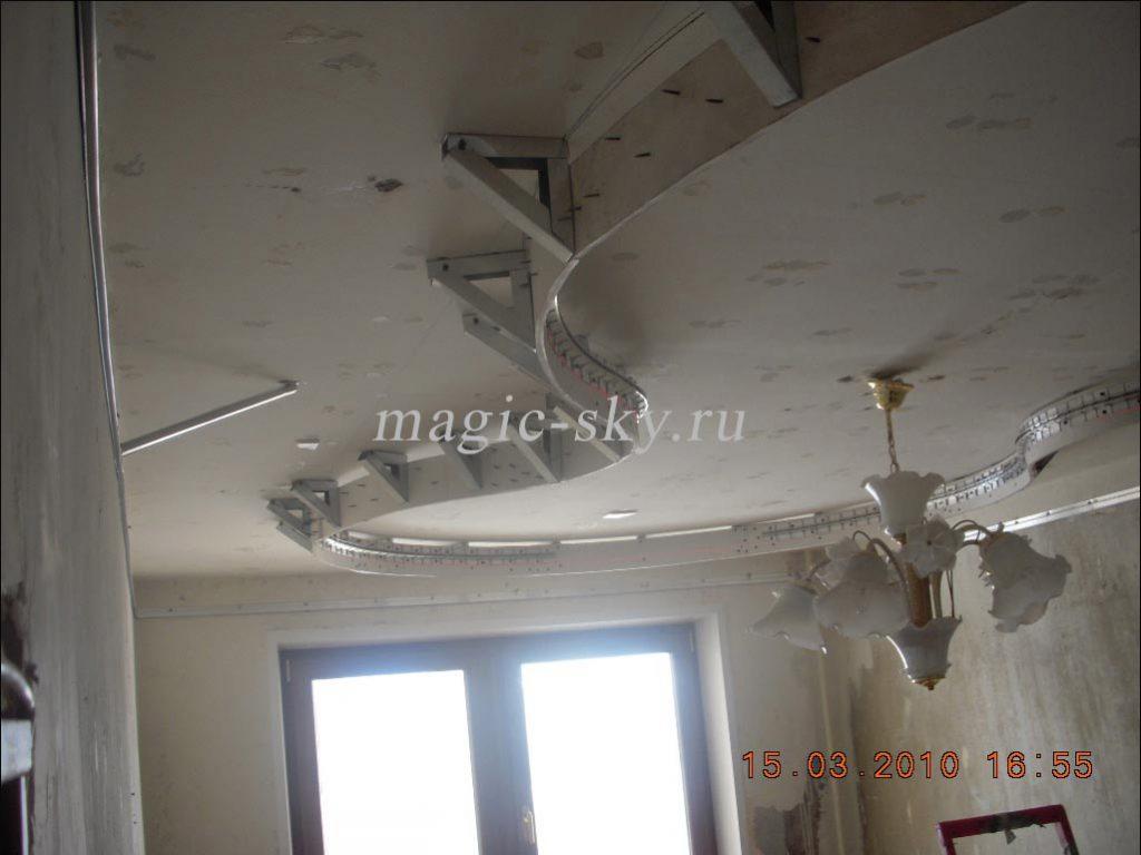монтаж двухуровневого потолка из гипсокартона с фото